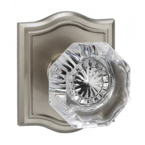Omnia 955AR Glass Door Knob Set with Arched Rose from the Prodigy Collection