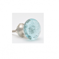 PotteryVille Aqua Light Sea Blue, Glass Cabinet Knob with Air Bubbles