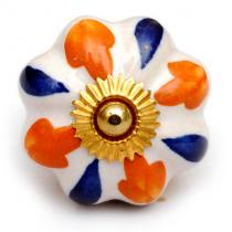 Orange and Blue Design on a Whte Ceramic Knob