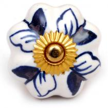 PotteryVille Blue Design on a White Ceramic Cabinet Knob