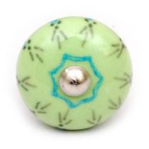PotteryVille Lime Green and Turquoise Design on a Lime Green Cabinet Knob