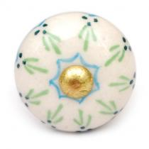 PotteryVille Lime Green and Turquoise Design on a White Cabinet Knob