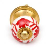 PotteryVille Red Flowers on a White Ceramic Cabinet Knob (Small)