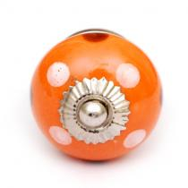 PotteryVille Orange Cabinet Knob with White and Brown Polka-Dots