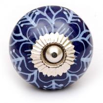 PotteryVille Blue and Turquoise Flower Ceramic Knob