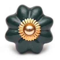 PotteryVille Dark Green Flower Cabinet Knob