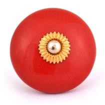 PotteryVille Red Ceramic Cabinet Knob