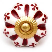 PotteryVille Dark Maroon Floral Design on a White Ceramic Cabinet Knob (Large)