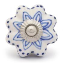 PotteryVille Blue design with white base ceramic knob