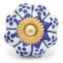 PotteryVille Blue design with white base ceramic knob 02