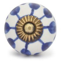 PotteryVille Blue design with white base ceramic knob 04