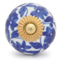 PotteryVille Blue flower and Blue leaf with white base ceramic cabinet knob 01