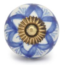 PotteryVille Blue design with white base ceramic cabinet knob 05