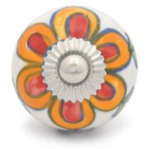 PotteryVille Orange and Red flower and Green leaf with white base ceramic Cabinet knob