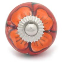 PotteryVille Orange flower and Green leaf with Red base ceramic knob