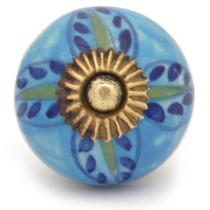 PotteryVille Green,Blue flower with Turquoise base ceramic cabinet knob