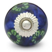 PotteryVille Green Flowered and Green leaf with Blue Base knob