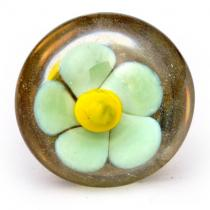 PotteryVille Light Turquoise with Yellow Center Flower Glass Knob
