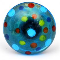 PotteryVille Red, Sky Blue and Green Polka Dotted Glass Knob