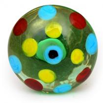 PotteryVille Yellow, Red and Sky Blue Polka Dotted Glass Knob