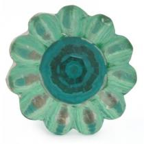 PotteryVille Green Glass Knob with Turquoise Diamond-Cut Center