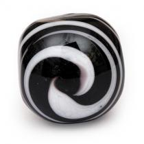 PotteryVille White Swirl on a Black Glass Knob