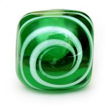 PotteryVille White Swirl on a Green Glass Knob