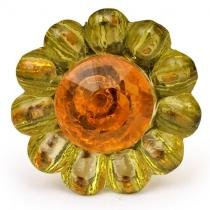 PotteryVille Green Glass Knob with Orange Diamond-Cut Center