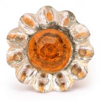 PotteryVille Clear Glass Flower Cabinet Knob with Orange Diamond-Cut Center