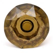 PotteryVille Dark-Green Glass Diamond-Cut Mushroom Knob