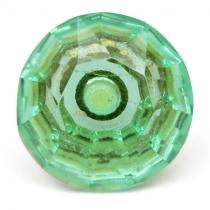 PotteryVille Light-Green Glass Diamond-Cut Mushroom Knob