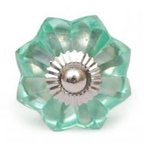 PotteryVille Sea Foam Green Glass Flower Cabinet Knob