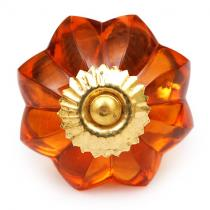 PotteryVille Orange Glass Flower Cabinet Knob