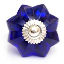 PotteryVille Dark Blue Glass Flower Cabinet Knob