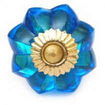 PotteryVille Blue Glass Flower Knob