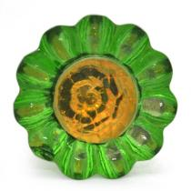 PotteryVille Lime Green Glass Knob with Orange Diamond-Cut Center