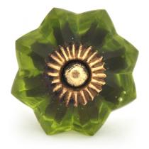 PotteryVille Heather Green Glass Flower Cabinet Knob