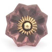 PotteryVille Purple Glass Flower Cabinet Knob