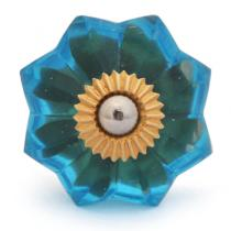 PotteryVille Light Turquoise Glass Flower Cabinet Knob