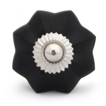 PotteryVille Black Glass Flower Cabinet Knob