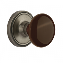 Nostalgic Warehouse Brown Porcelain Knob Set