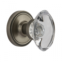 Nostalgic Warehouse Oval Clear Crystal Knob - Privacy Mortise Lock Set CLAOCC/ROPOCC