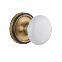 Nostalgic Warehouse White Porcelain Knob - Privacy Mortise Lock Set