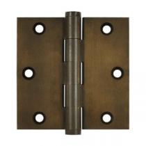 "Deltana 3 1/2"" x 3 1/2"" Square Corner Solid Brass Distressed Hinges (Pair)"