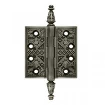 "Deltana 3 1/2"" x 3 1/2"" Square Corner Ornate Solid Brass Hinges (Pair)"