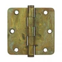 "Deltana 3 1/2"" x 3 1/2"" Radius Corner Residential Solid Brass Distressed Hinges (Pair)"
