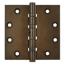 "Deltana 4 1/2"" x 4 1/2"" Square Corner Ball Bearing Solid Brass Distressed Hinges with Non Removable Pin (Pair)"