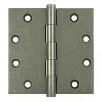 "Deltana 4 1/2"" x 4 1/2"" Square Corner Solid Brass Distressed Hinges (Pair)"