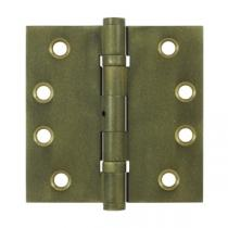 "Deltana 4"" x 4"" Square Corner Ball Bearing Solid Brass Distressed Hinges with Non Removable Pin (Pair)"