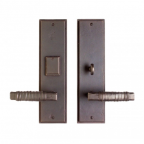 "Rocky Mountain 3-1/2"" x 13"" Stepped Escutcheon Entry Set with choice of Knob or Lever"